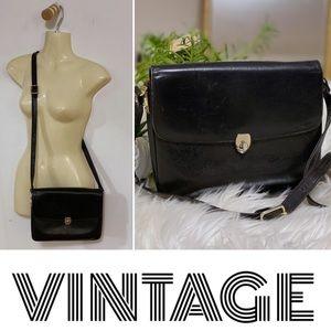 Vintage black/red Italian leather crossbody bag